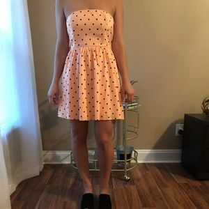Light pink polka dot mini dress